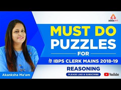 IBPS CLERK MAINS | Must do puzzles for IBPS CLERK MAINS 2018 | Akanksha Ma'am