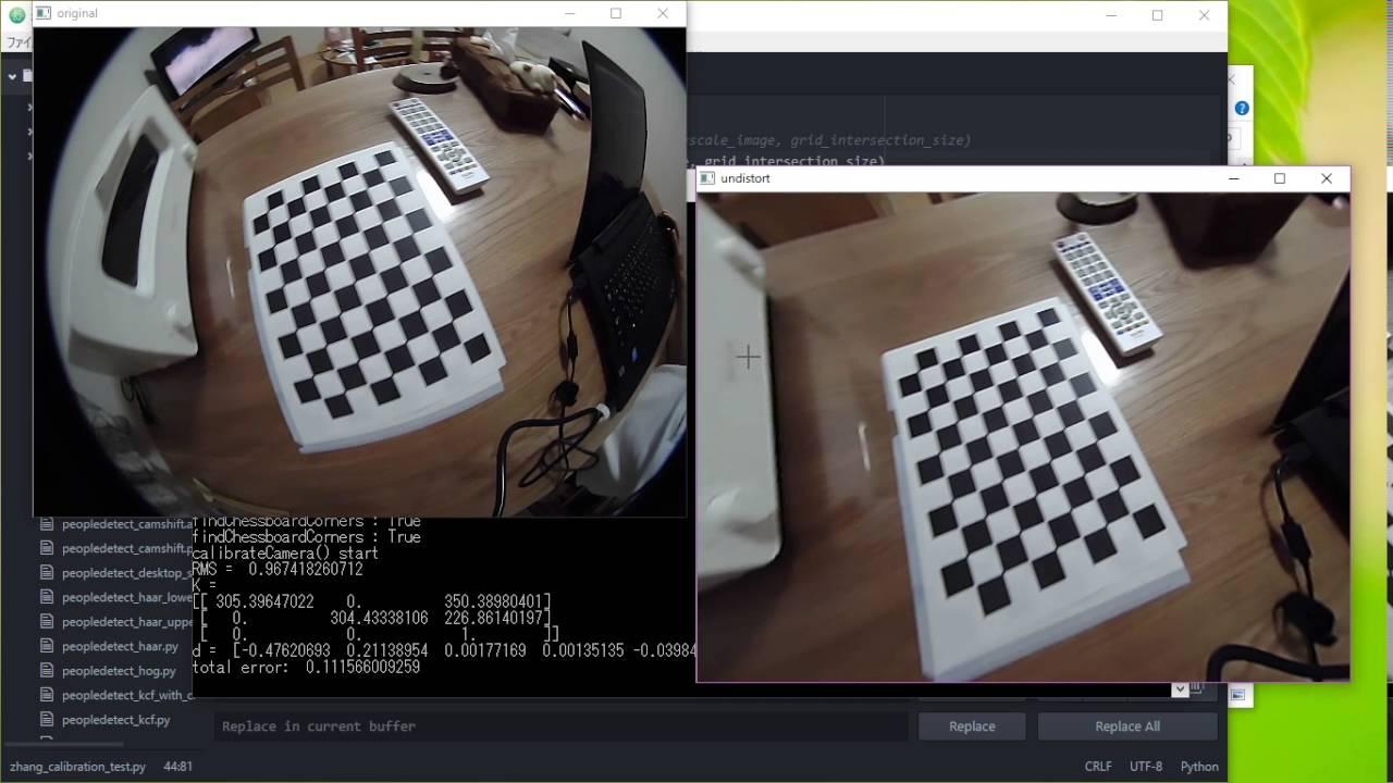 【Windows】【Python】 OpenCVで魚眼レンズのカメラキャリブレーション