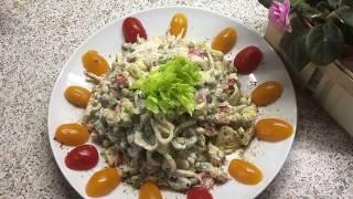 3 блиц рецепта салатов: 1 - из свеклы, 2 - из крабовых палочек и морской капусты, 3 - из кальмаров