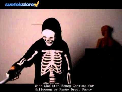 SuntekStore: Mens Skeleton Bones Costume for Halloween or Fancy Dress Party
