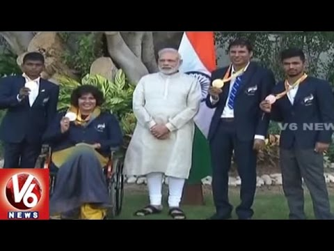 PM Modi Meets And Congratulates Paralympians | New Delhi | V6 News