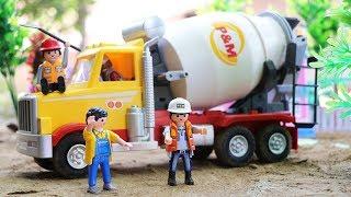 Toy Car Construction Vehicles  Playmobil Car Toys   Cenment mixer   Dump Truck , Crane Truck
