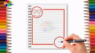 تزيين الدفاتر المدرسية من الداخل للبنات سهل خطوة بخطوة اثميل/  simple border designs on paper smile