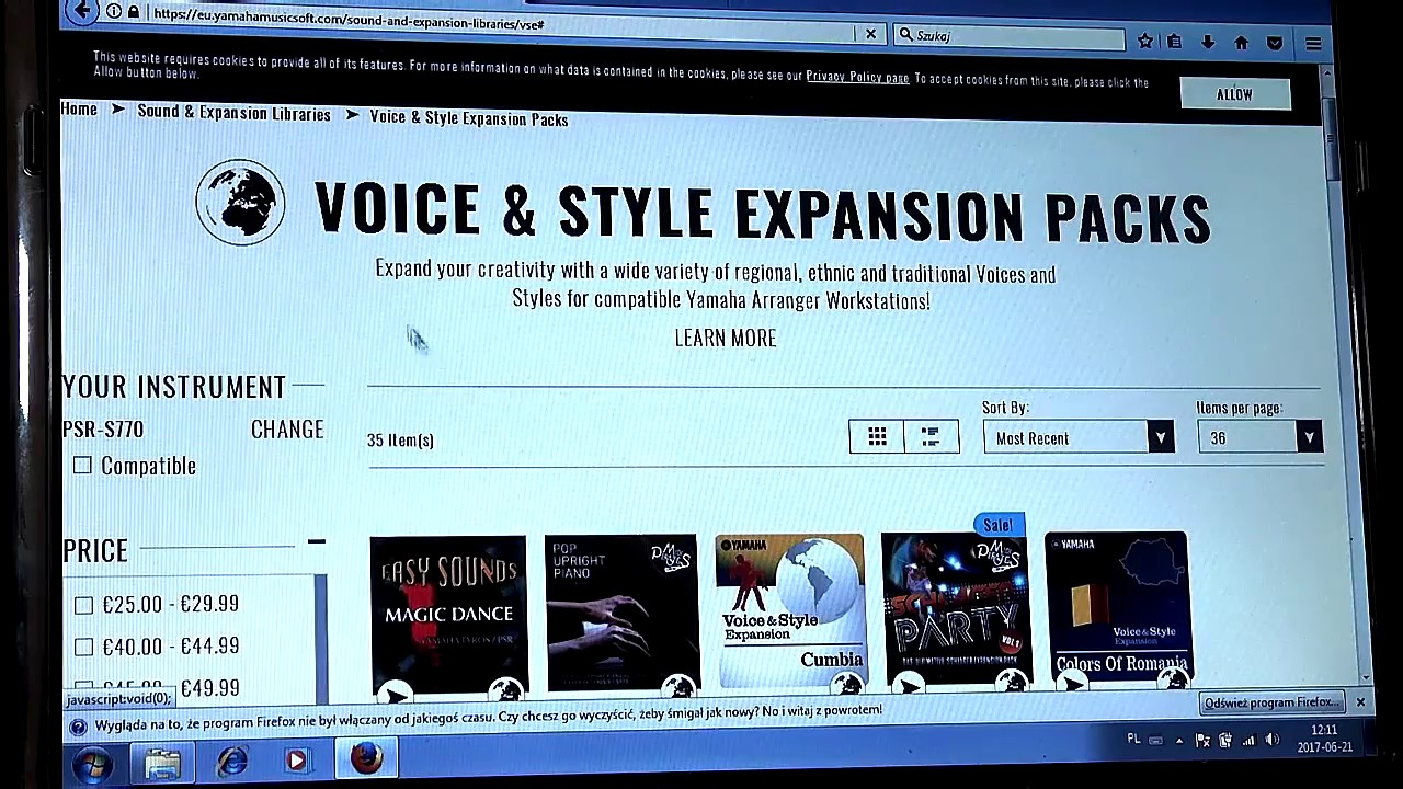 Musicexpress yamaha psr s 770 jak zarejestrowa i pobra for Yamaha expansion pack