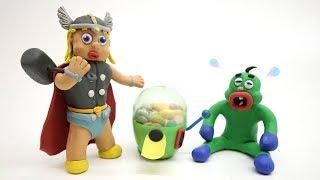 SUPERHERO BABY WANTS CHOKO CANDY CLAY CARTOONS PLAY DOH STOP MOTIONS