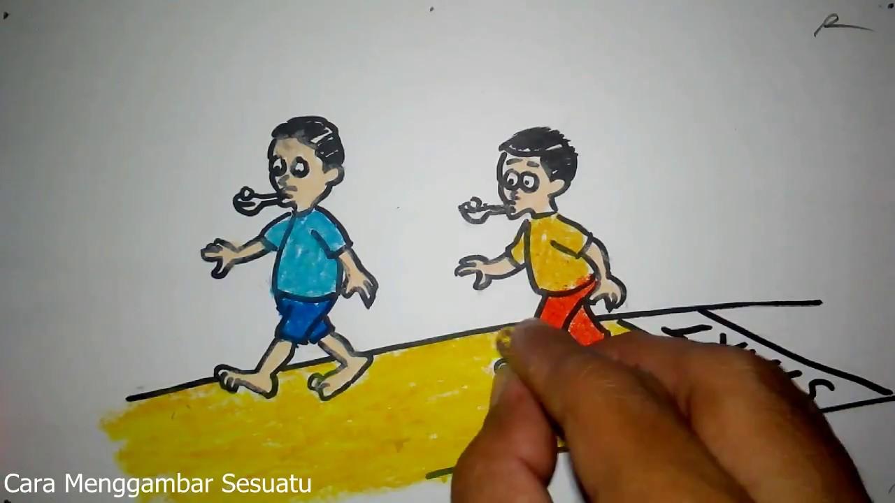 Cara Menggambar Lomba Lari Kelereng Agustusan Youtube