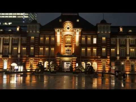 2018 東京駅 丸の内 夜景 雨