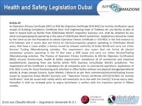 Health and Safety Legislation Dubai - Dott.ssa Claudia Nicolò