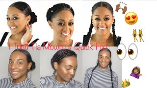 Tia Mowry's Quick Fix Hairstyles | Halo Braid, 2 Long Braids and 2 Ponytails