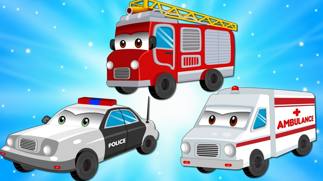 Police Car With Red Fire Truck And Ambulance In The City