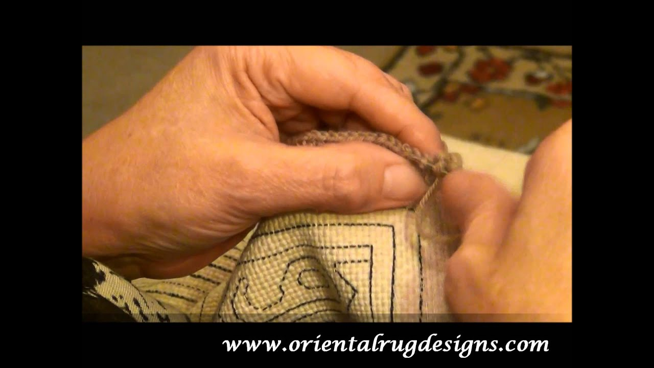 Carpet technique needle and crochet embroidery (video)