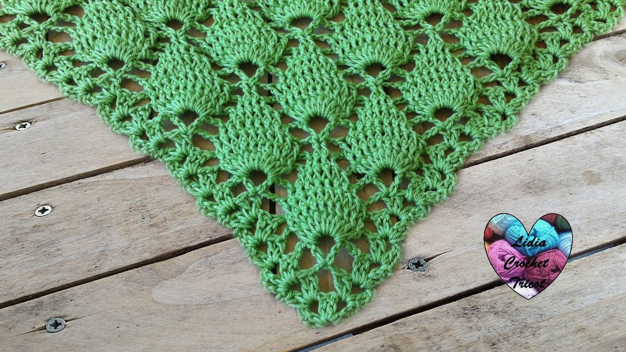 Shawl Embossed Leaves Crochet