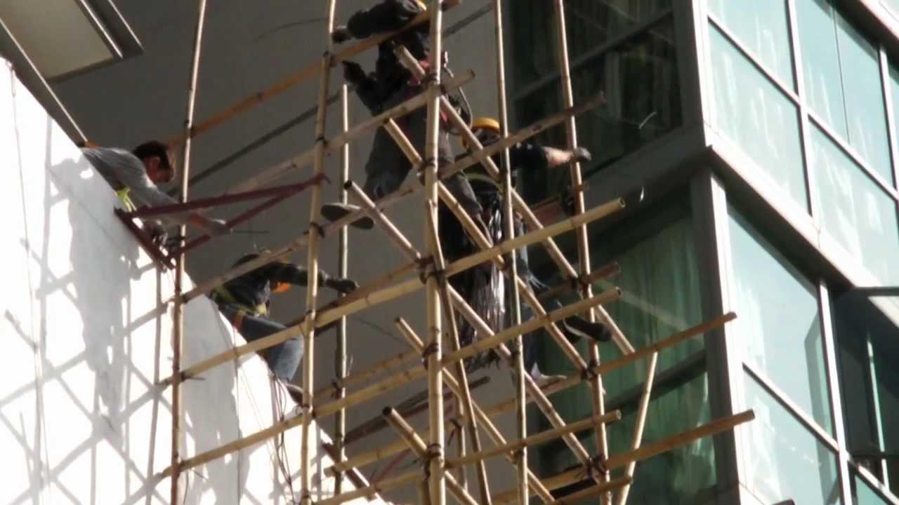 Hong Kong Building Bamboo Scaffolding Lantau Youtube