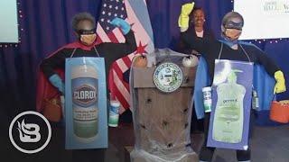 """CRINGE ALERT: Chicago Mayor Dresses Up as """"Rona Destroyer"""" for Press Briefing"""