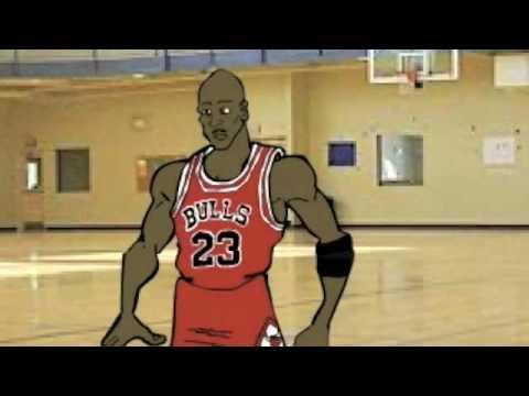 Michael Jordan Drawing Cartoon Dribbling Basketball