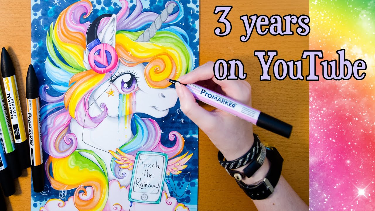 Speed Drawing Shiny Rainbow Unicorn 2nd Version 3 Years