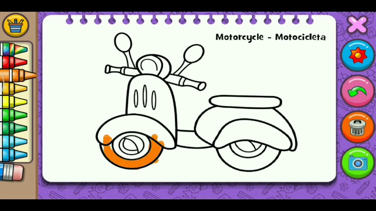 Mewarnai Gambar Motor Anak Tk