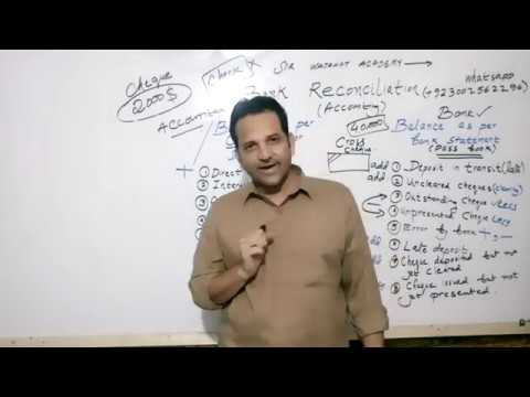 What is Bank Reconciliation Statement in Urdu and Hindi for 11th, CMA, Icom, Bcom, MBA Classes