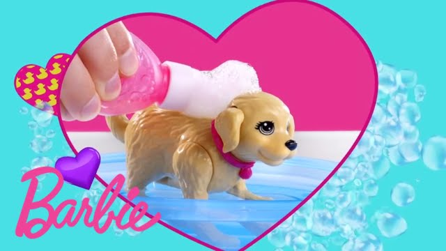 Barbie et son chien heure du bain dgy83 youtube for Barbie chien piscine