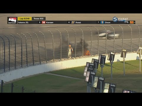 IndyCar Series 2018. Texas Motor Speedway. Matheus Leist On Fire