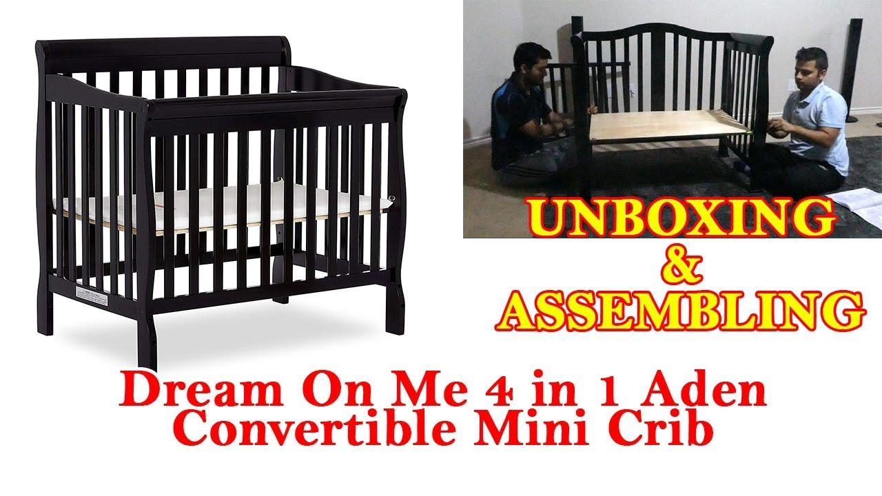 Black Dream On Me 4 in 1 Aden Convertible Mini Crib