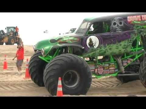 Monster truck racing on Virginia Beach