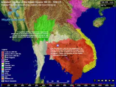 Animated Time Map of the Khmer Empire & Southeast Asia (100-1550 ...