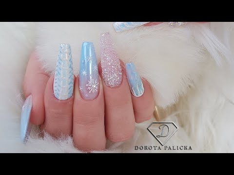Winter blue coffin nails, Christmas nails tutorial. Baby
