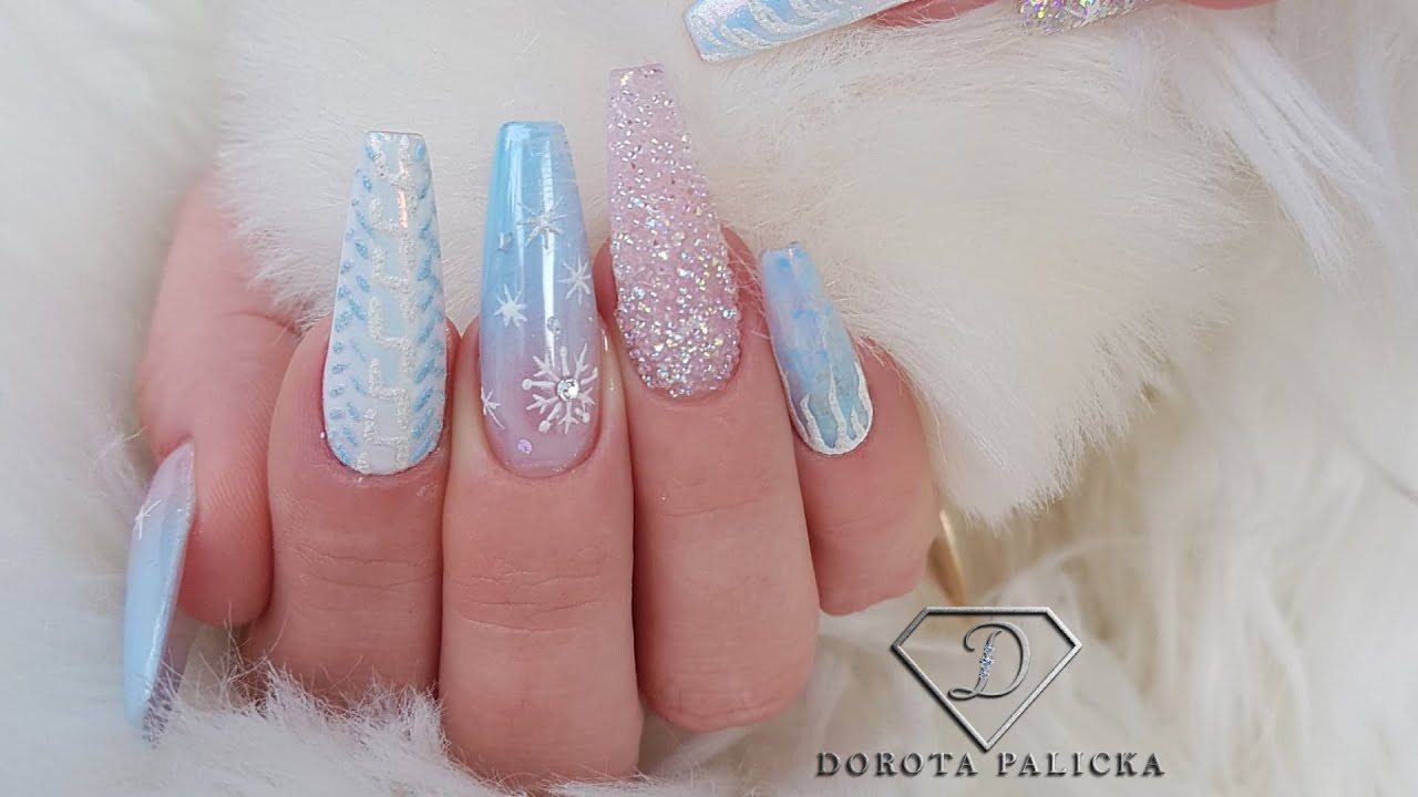 Winter blue coffin nails, Christmas nails tutorial. Tiffany