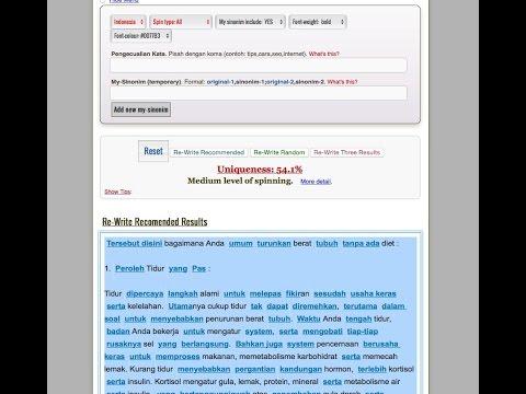 cara spin artikel indonesia dengan tools thearticlespinner