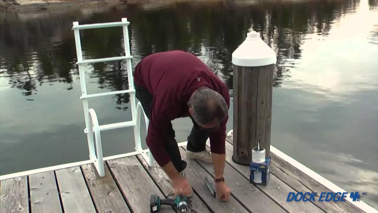 Dock Edge Piling Cap Light Installation Youtube