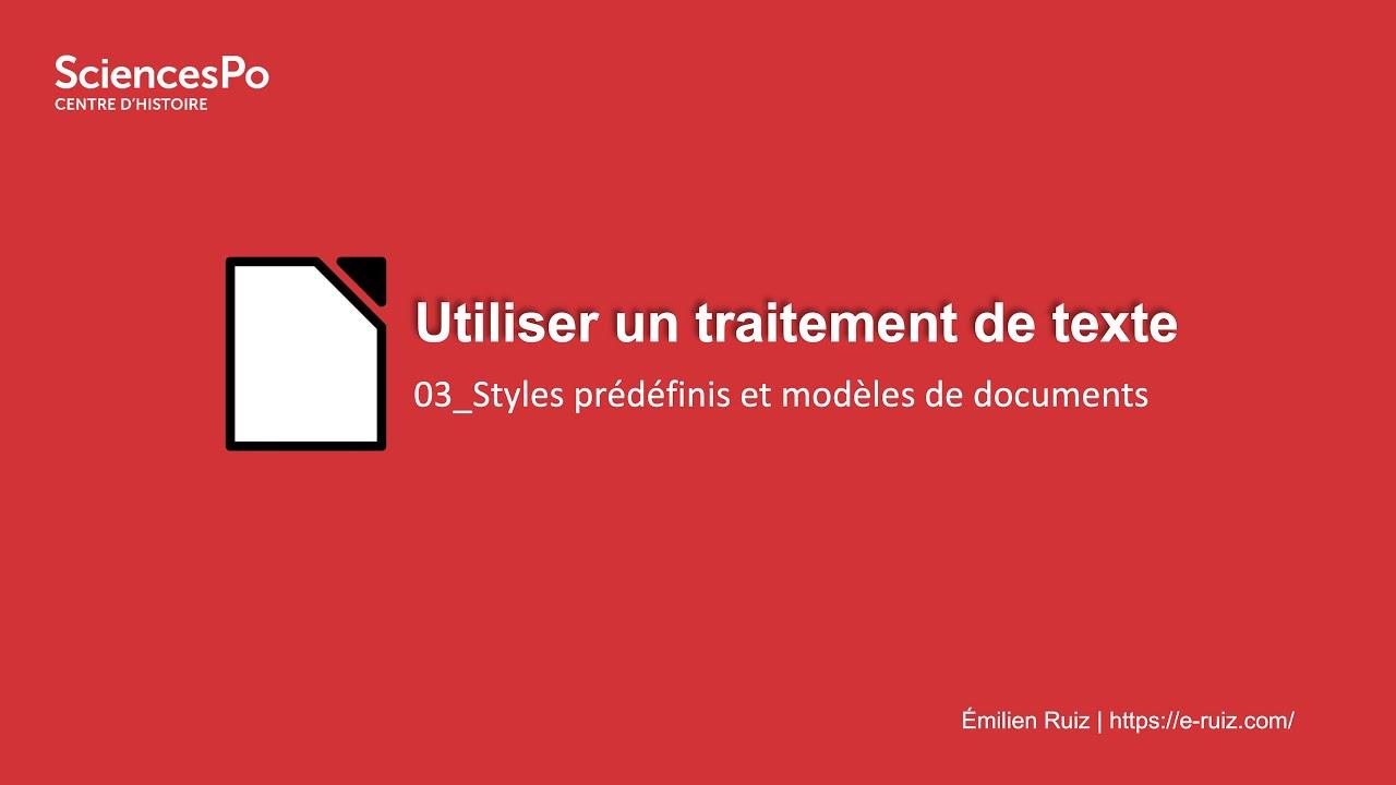 Youtube Video: Traitement de texte : 03_Styles et modèles