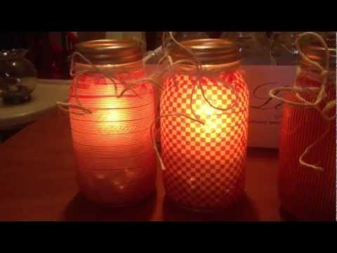 Homemade glass jar luminaries for diy candle holders youtube for Homemade candle holders