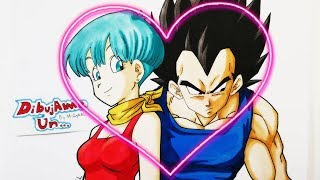 Como dibujar a VEGETA y BULMA Dia del Amor. How to draw VEGETA and BULMA Valentin´s Day