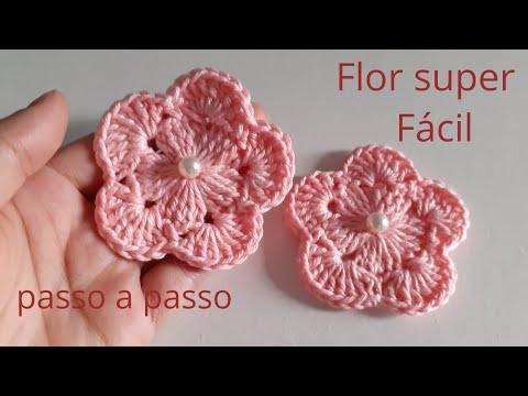 🌸Flor crochê para aplicação muito fácil!