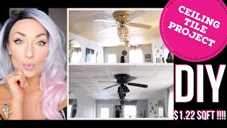 ✨ How To: DIY: GLAM HOME Transformation! ✨ EASY | CEILING TILES | $1.22sqft | WOW!!