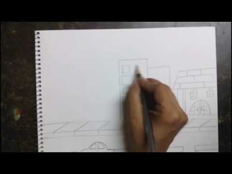 How to draw a city scene for kids