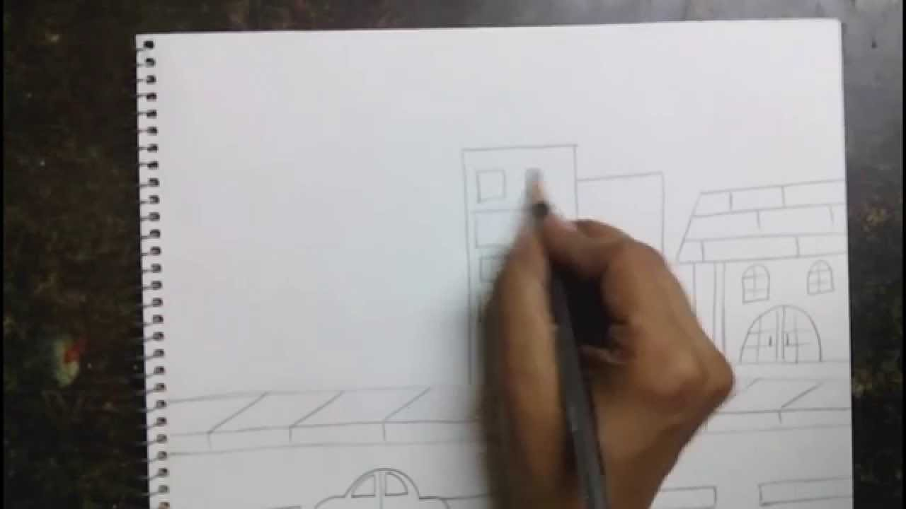 How To Draw A City Scene For Kids Youtube