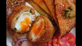 স্কচএগ, ফ্রাইড  ফ্রেঞ্চটোস্ট আর স্প্যাগেটি | Scotch Egg with French Toast & Wonton Fried Spagheti |