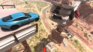 Collapsing Bridge Pileup Crashes - BeamNG DRIVE
