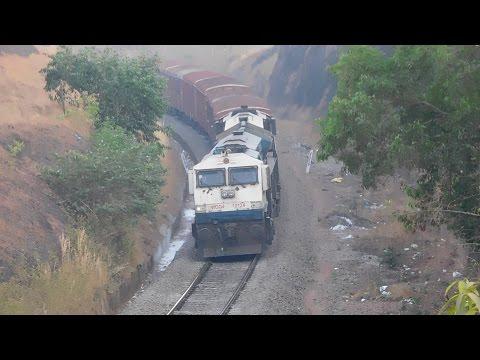 """Blue+Yellow"" EMD Twins UBL WDG4 ""9000HP"" BCNA Freight Train On Curve : Konkan Railways"