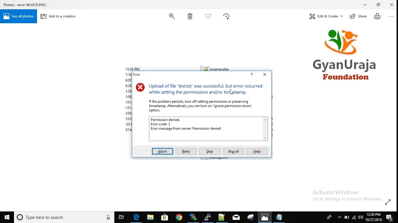 WinSCP Error- Permission denied - Error code 3(permissions and/or  timestamp)- Hindi