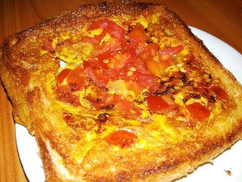 Bread Omelette Tomato Toast recipe preparation | Hyderabad Kitchen