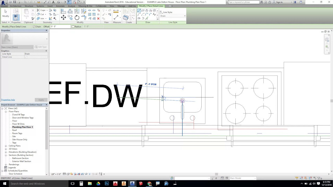 Revit - Plumbing Plans with Detail Lines?