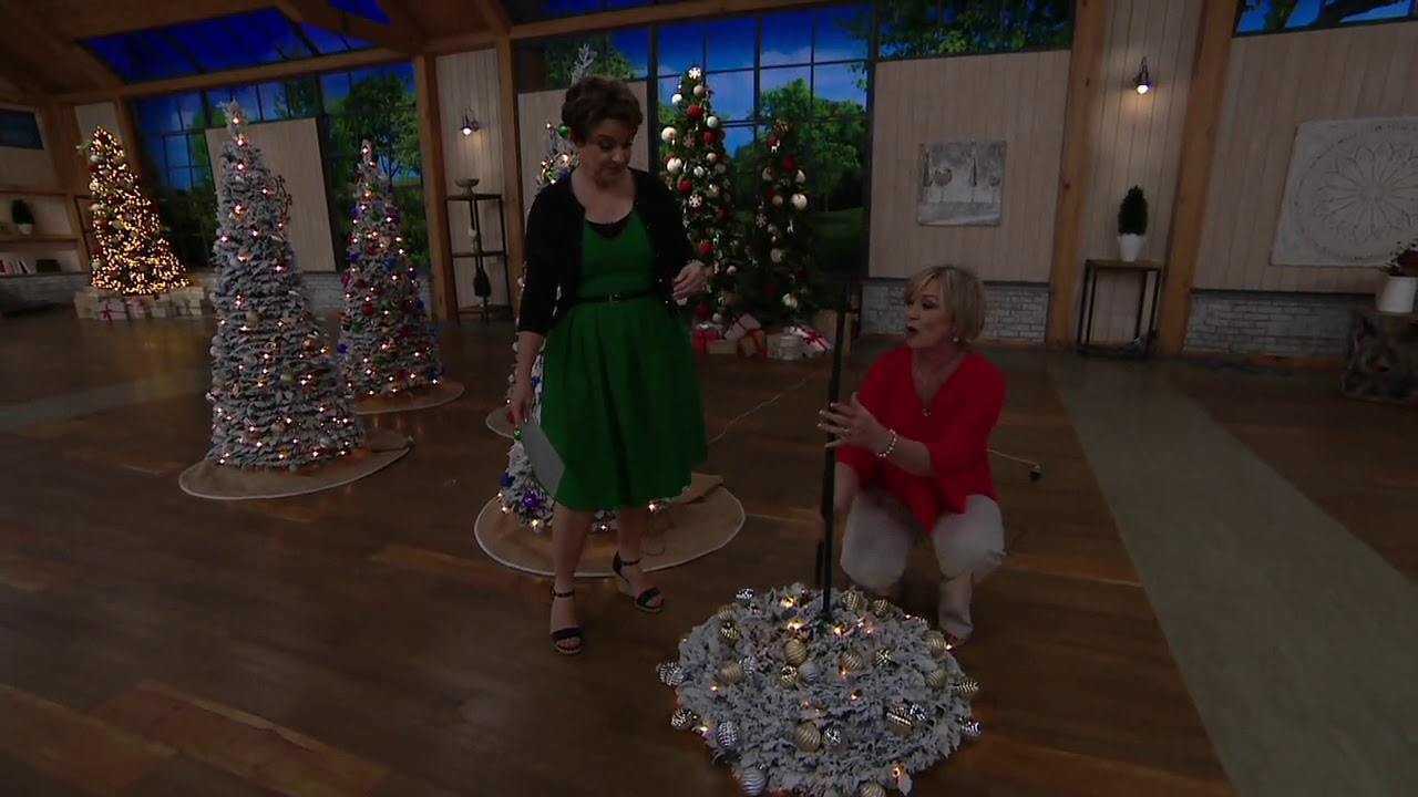 Barbara King 6 Flocked Pre Lit Pop Up Tree on QVC