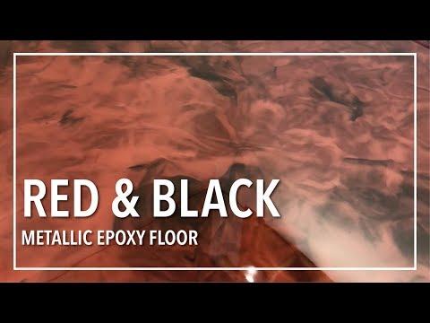 Red and Black Metallic Epoxy Floor