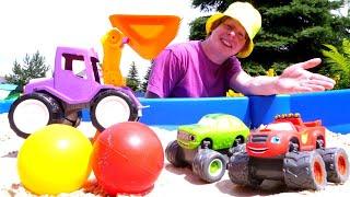 Моя песочница для самых маленьких— Строим трассу для машинок изцветных шариков— Игры для детей