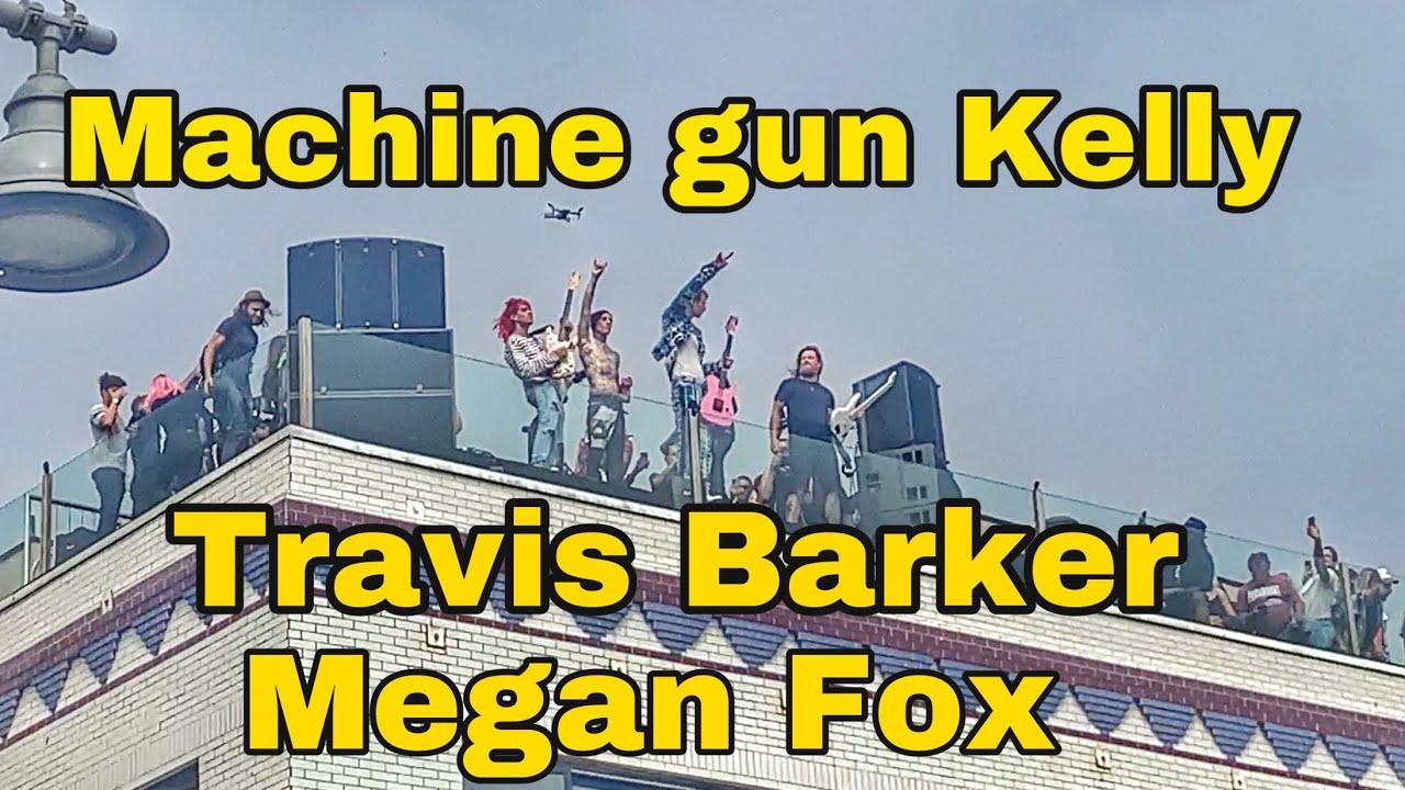 Machine gun Kelly,Travis Barker ,Megan Fox give free Concert on Rooftop on Venice Beach California