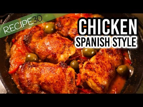 Spanish style chicken with chorizo and potatoes
