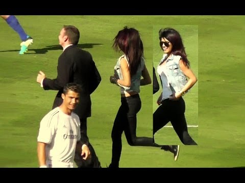 Priyanka Chopra + Cristiano Ronaldo at Dodger Stadium Los Angeles - Real Madrid vs Everton